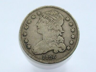 1836 USA Capped Bust Silver Quarter Dollar.