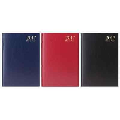 A4 - A5 Hardback Cover Week To View & Page A Day Desk 2017 Diary With Planner Tl