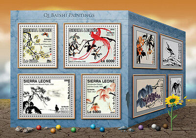 Sierra Leone 2016 MNH Qi Baishi Paintings 4v M/S Birds of Paradise Art Stamps