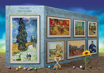 Sierra Leone 2016 MNH Vincent Van Gogh 1v S/S Road with Cypresses Art Stamps