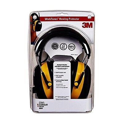 3M WorkTunes Hearing Protector Earmuffs MP3 AM/FM RADIO Tuner 90541-4DC New