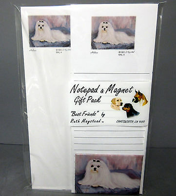 New Maltese White Dog List Pad Note Pad & Magnet Set  2 Pads Malteses Dogs