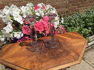 """ANTIQUE Pair GLASS CANDLE STICK HOLDERS  8.5"""" tall  Hexagon top & bottom"""