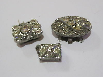 Vintage Jeweled Clasps - Jewelry Findings - Art Deco - Necklace Bracelet Repair