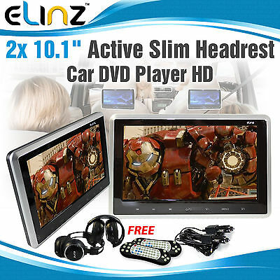 """10.1""""Touch Screen Car Pillow Headrest Active Monitor DVD Player Game Headset 2pc"""