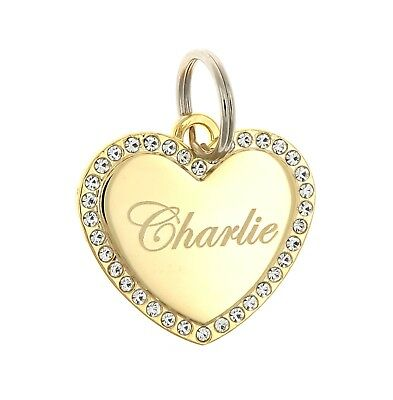 Custom Engraved Personalized Gold Plated Heart CZ Stones Dog Pet ID Tag