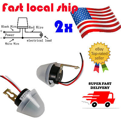 US 2x Ajustable AS-20 AC/ DC 12V Photo Sensor Switch Auto On Off Street Light