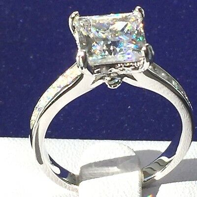 Engagement Ring: Simulated Diamond Engagement Princess Ring  925 Sterling Silver