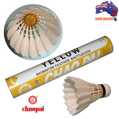 Supa durable Goose feather CHAOPAI Yellow Badminton Shuttlecocks for competition