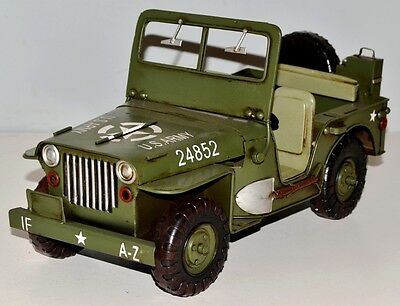 Army Jeep Vintage Tin Car Vintage Metal Model Tin Model Car approx. 30 cm 37769