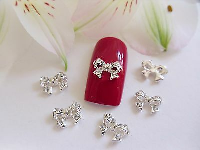"""3D Nail Art """"Small Silver Rhinestones Curved Bow-Tie Bows"""" Alloy Metallic Metal"""
