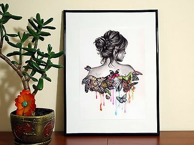 Beautiful Butterfly Tattoo Girl Paint Drawing - A4 Glossy Poster - FREE Shipping