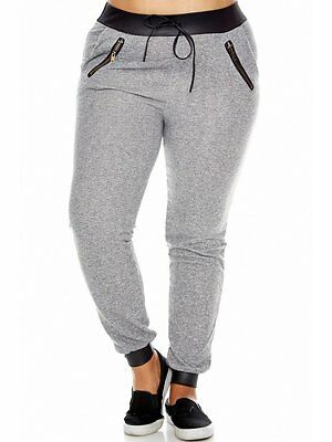 Womens Plus Size PU Contrast Curvy French-Terry Track/Joggers Zipper Pocket Pant