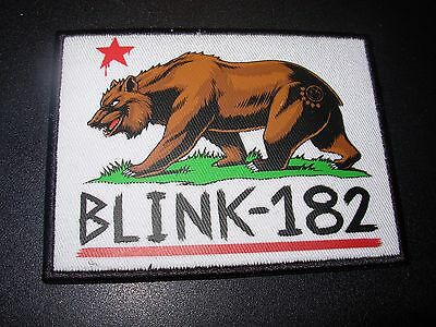 BLINK 182 Rectangle California Bear Logo Embroidered Patch iron on not cd lp