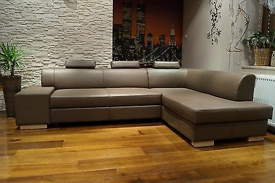 braun rindsleder ecksofa echt leder kopfst tzen sofa couch mit bettfunktion eur. Black Bedroom Furniture Sets. Home Design Ideas