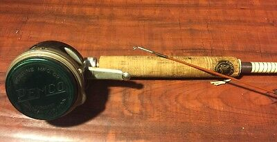 Vintage Wright-McGill Eagle Claw 8 1/2' Hollow Glass Fly Rod Line 7 Pemco Reel