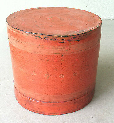 Antique Burmese Orange Lacquerware Betel Wooden Box CIRCA 1950