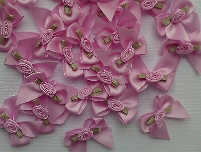 Satin Ribbon Bow With Rose /  May Flower  Pk10 Craft Sewing Embellishments