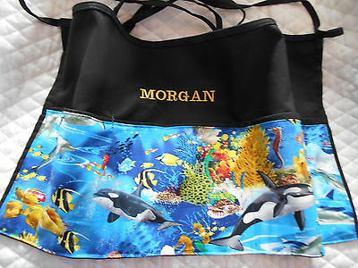 New Black Server 3 POCKET WAITRESS WAIST APRON Dolphin Whales w/wo Name