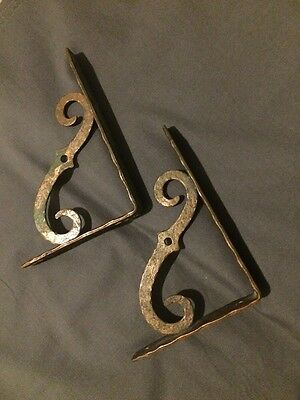 "Two Vintage Hammered COPPER Plated Steel Angled WALL SHELF Brackets 4 1/2"" X 6"""
