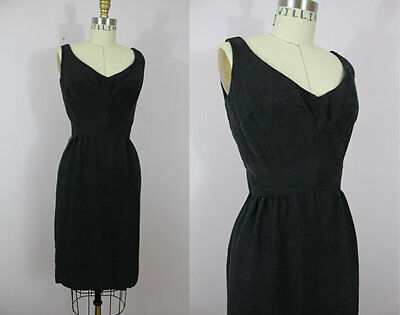 vintage 1950s 50s black textured cotton wiggle SUMMER sun dress small AU 8