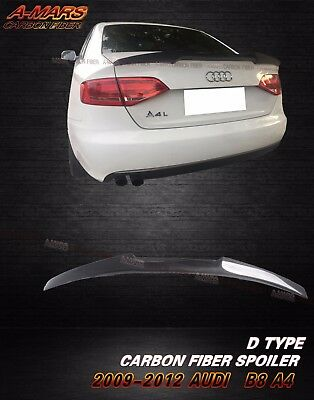 2009-2012 Audi A4 B8 Sedan 4dr Carbon Fiber Rear Trunk Spoiler Lip Type D
