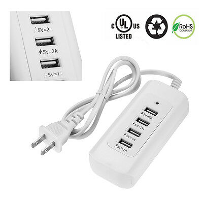 4 USB Outlet Power Strip Adapter Wall Charger Fast Charging Station Hub Desktop
