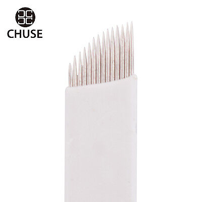 Chuse S14 50pcs permanente trucco tattoo manuale smussatura Microblading 14 aghi