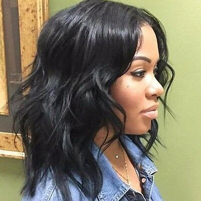 Long Heat Friendly Lace Front Wig Synthetic Hair Natural Black Wavy BOB Wigs #FD