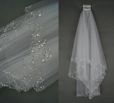 2T White/Ivory Elbow Beaded Pearl Sequins Edge Bridal Wedding Veil With Comb UK