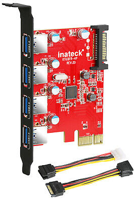 Inateck Superspeed Interface 4 Ports PCI-E to USB 3.0 Expansion Card PCI SATA