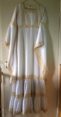 VINTAGE 1976 WEDDING DRESS ANGEL SLEEVES  XSSW 10 ORIGINAL Boho HIPPY RETRO