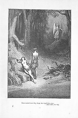 Milton's Paradise Lost.1894.Cassell.Gustave Dore.Angel.Tears.Antique print