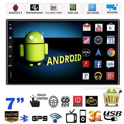 "Android 4.4 2 Din 7"" HD Car Stereo GPS MP5 Player Bluetooth Radio WiFi +Camera"