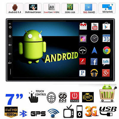 "Quad Core Android 4.4 7"" 2 Din Car Stereo GPS MP5 Player Bluetooth Radio WiFi 3G"