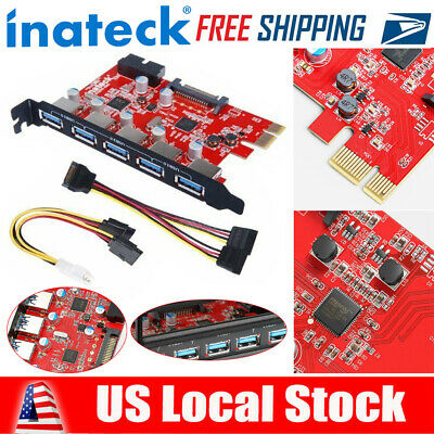 Inateck Superspeed 5 Ports PCI-E to USB 3.0 Expansion Card PCI Express Internal
