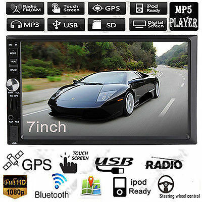"7"" GPS Navi Bluetooth Touch Car In-Dash 2 Din Stereo Radio MP3 MP5 Player USB/SD"