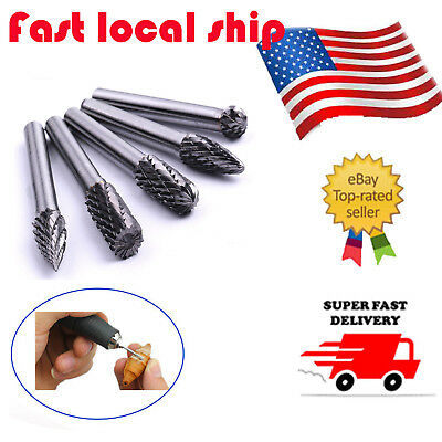 "5pcs 1/4"" Tungsten Carbide Cutter Rotary Burr Set CNC Engraving Bit 6mm"