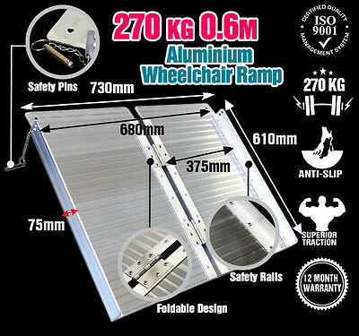 Wheelchair Ramp 0.6M Aluminium Folding Mobility Scooter Portable Loading Ramps