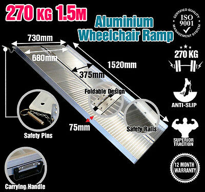 Wheelchair Ramp 5FT Aluminium Folding Mobility Scooter Portable Loading Ramps
