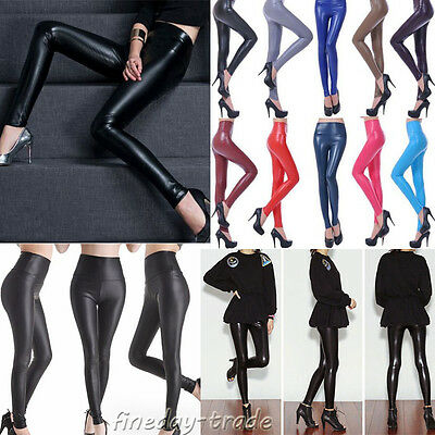 Winter Womens High Waist Wet Look Faux Leather Leggings Pants Jeans Trousers