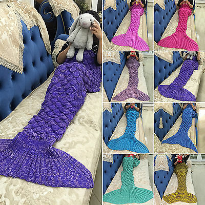 Kids/Adults Fish Scale Pattern Mermaid Tail Crocheted Sofa Knit Lapghan Blanket