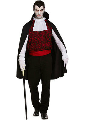 Men's Halloween Vampire Count Dracula Party Fancy Dress Costume & Cape One Size