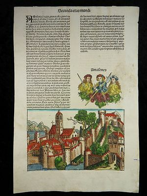 Land Of Amazons Woman Warrior Incunable Nuremberg Chronicle Schedel 1493 J08