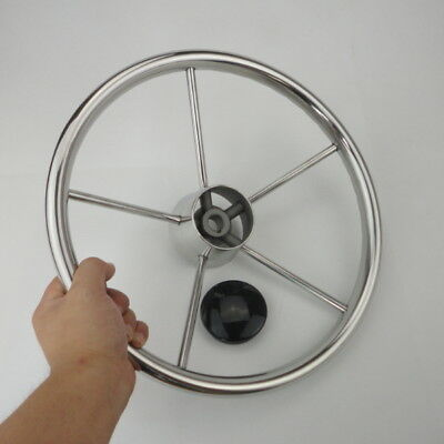 AU Newly 13-1/2'' Boat Steering Wheel Stainless Steel Mirror Polish 5 Spoke