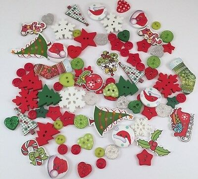 100 X New Christmas Craft Buttons Embellishments  Card Making Scrapbooking Craft