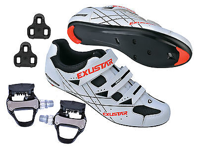 EXUSTAR Road Bike Bicycle Cycling Shimano SPD SL Look Shoes + VP Sealed Pedals