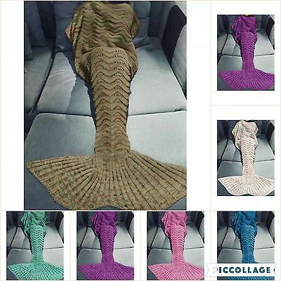 Mermaid Tail Handmade Crocheted Cocoon Sofa Beach Quilt Rug Knit Lapghan Blanket