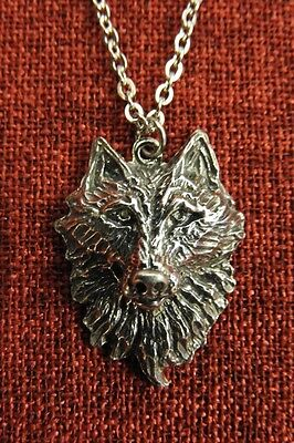Wolf Head Fenris Viking Thor Norse Pewter Pendant Stainless Steel Chain Necklace