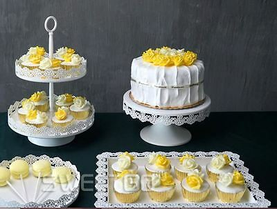 White cake stand set 4 pieces cupake display tray for weddings,  Birthdays